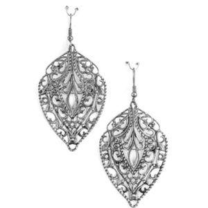 Filagree Dangle Earrings in Silver